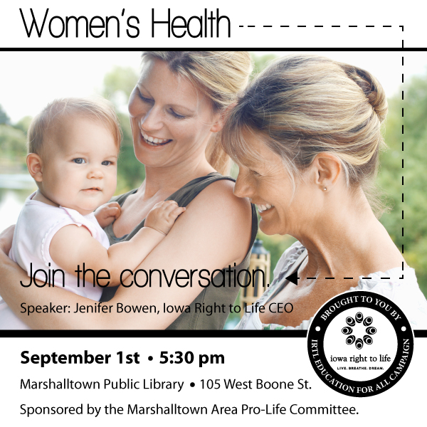 Jenifer Bowen to speak on Women's Health, September 1st in Marshalltown, Iowa!