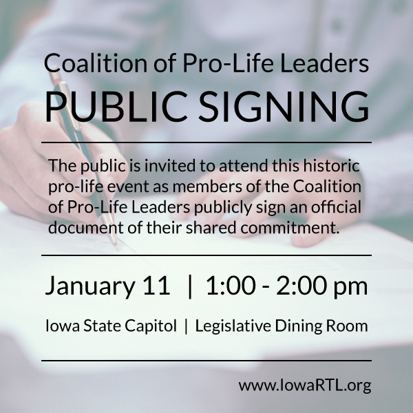 MEDIA ADVISORY: Coalition of Pro-Life Leaders Public Signing