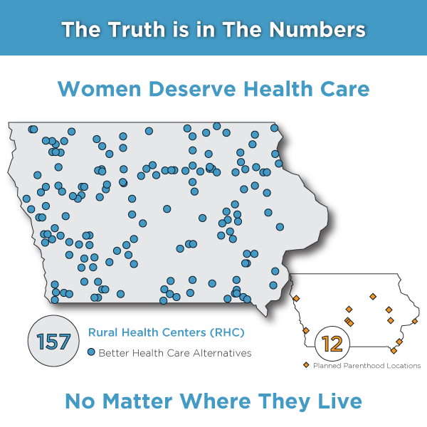The Truth is in The Numbers: Rural Health Centers Iowa Map